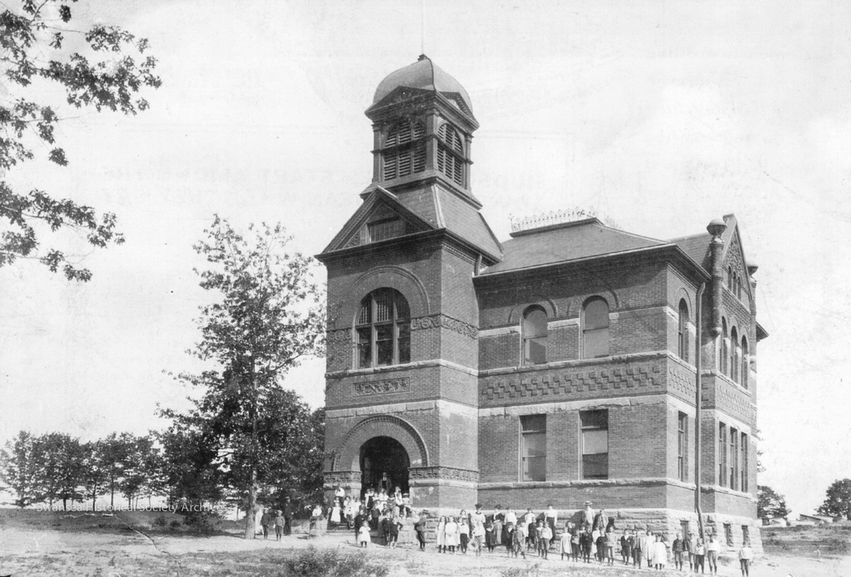 Swansea Public School - As it appeared in 1891.  The school, built on land donated by J. Worthington, owner of the Bolt Works, faced south down Windermere Avenue. The original building was replaced in 1925. Via Ontario Archives.