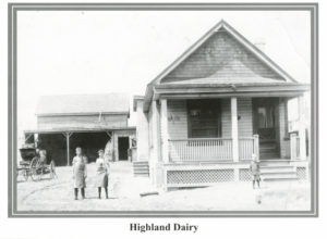 "The Highland Dairy was located on the west side of Runnymede Road just south of DeForest Road. We are fortunate to have one of their embossed milk bottles in our Archives with the inscription ""Highland Dairy - Swansea""."