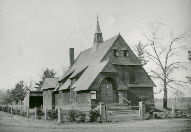 Morningside church (designed by John Gemmell) as it stood from 1891 until it was moved 90 degrees to face Kennedy Avenue in 1916 (when replaced by the present stone church) and acted as the church hall until the present addition was built in 1926. Via Toronto Library.