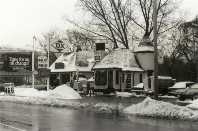 During the 1930s Joy Oil built 14 gas stations across the City (owned and operated by the Hercules Oil Co. of Detroit). The Toronto Historical Board was considering designating this particular station an historical site but it disappeared overnight. The only remaining station is at Windermere and The Lakeshore. Via Swansea Historical Society
