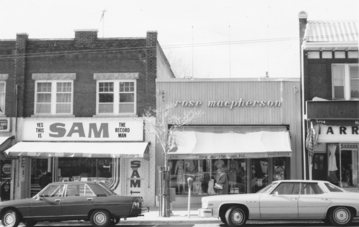 Sam the Record Man, Bloor and Jane, north side of Bloor, circa 1978. Currently, these two stores are a Booster Juice (just closed) and Cecil Ward menswear (in Bloor West Village since 1939). Swansea Historical Society Collection.