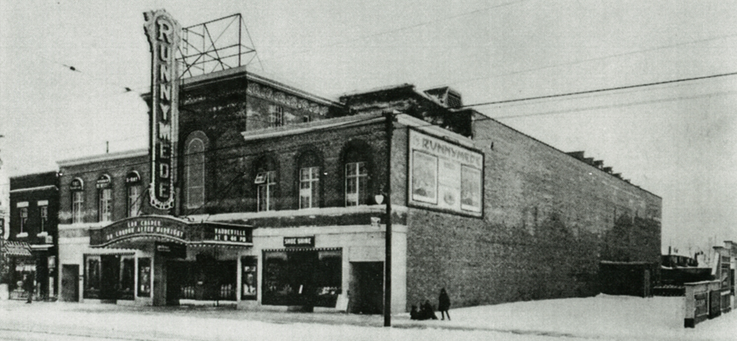 The Runnymede theatre opened in 1927. Now a Shoppers Drug Mart, the theatre was built in the 1920s for both stage performances and movies. The architect, Alfred Chapman, also designed the Princes' Gate, the old Food and Electrical Buildings at the CNE and the former Central Reference Library on College St. Source unknown.