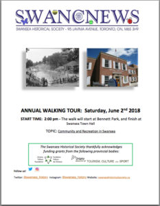 Cover of Swansea Historical Society June 2018 Newsletter - click to view PDF version