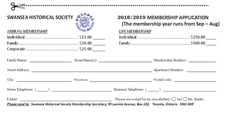 Swansea Historical Society 2018-2019 Membership form