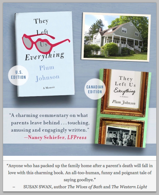 By turns humorous and touching, They Left Us Everything is an unforgettable memoir about family love, loss, and legacies.  A disciplined British father, an exuberant Southern mother, five kids, fifty years' worth of stuff, and the 23-room house that held them all. Plum Johnson's memoir is a funny, heartfelt story about what parents leave behind.